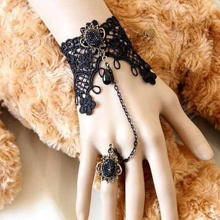 Charming Vintage Black Lace Bracelet with Ring