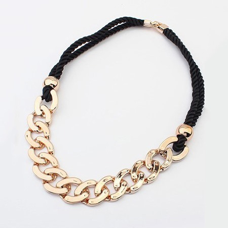 Large Cross Gold-Tone Alloy Double Layer Woven Rope Vintage Torques Necklaces