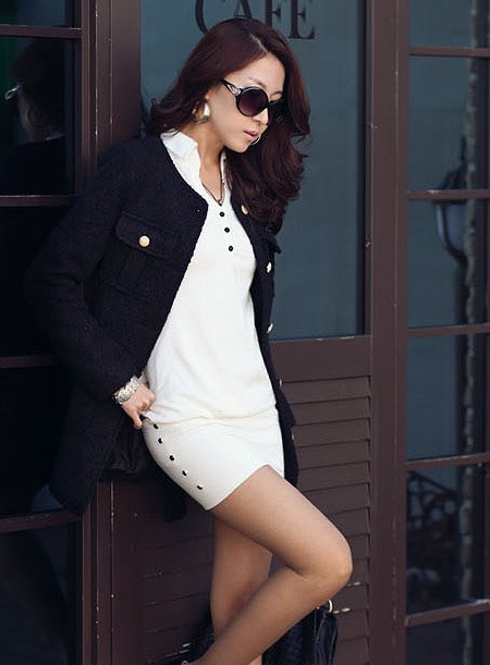 Fabulous OL Style Simple Lapel Long Sleeves Dress
