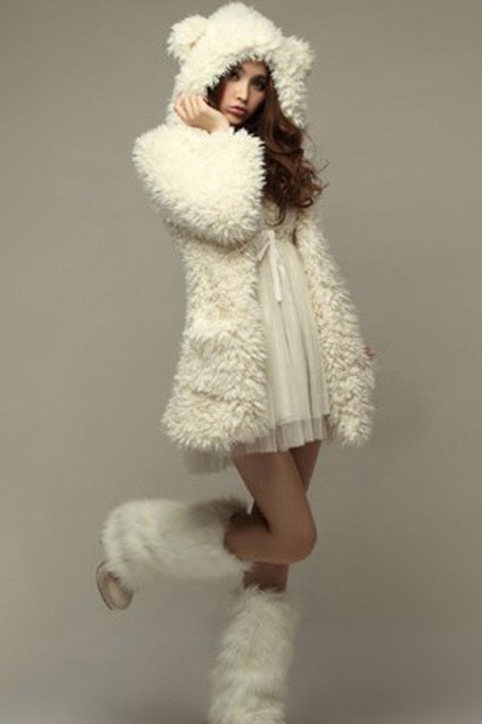 Casual Pure Color Bear Ear Hooded Lovely Princess Overcoat