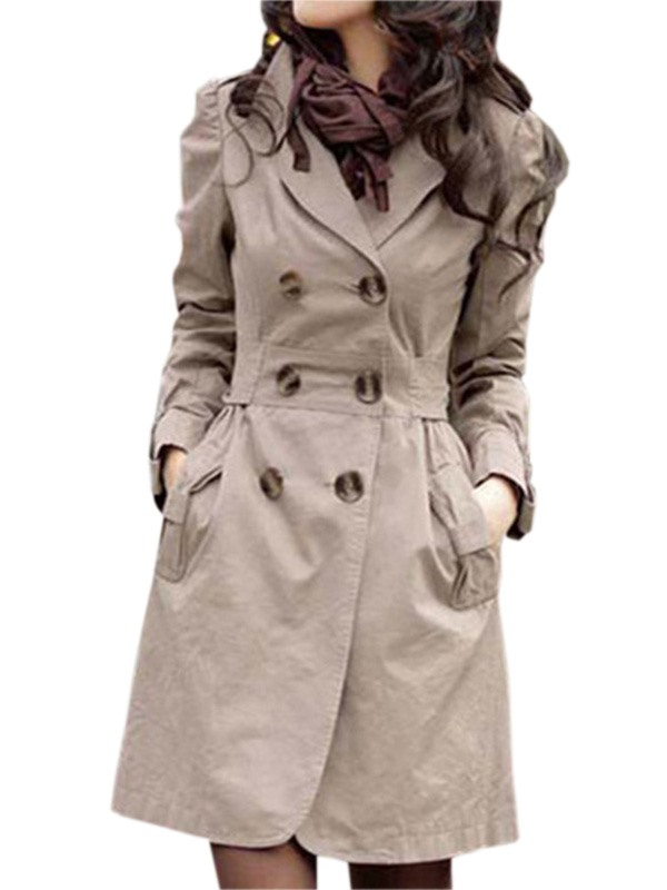 Best Quality Slim Cotton Double-breasted Long Trench Coat