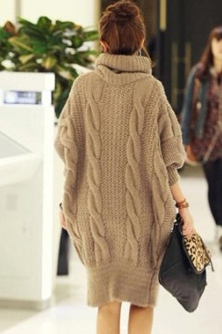 Distinctive Single-breasted Lapel Hemp Pattern Knit Bat Sleeves Sweater