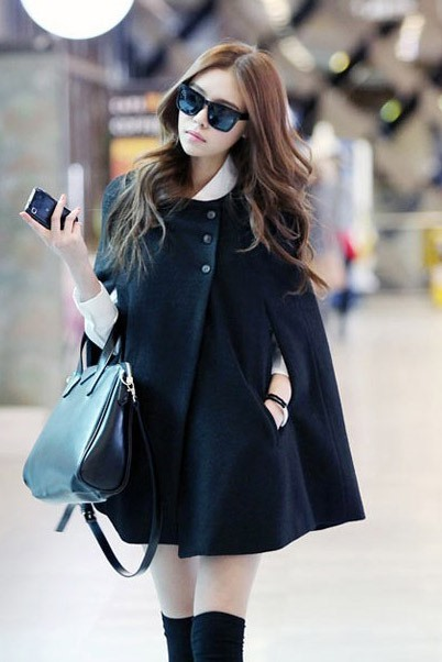 Fall Wool Blends Pockets Round Neck Women's Cape Coat
