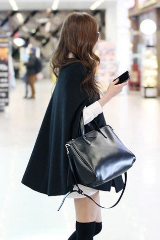 New Korean Style Black Cloak Trench Coat