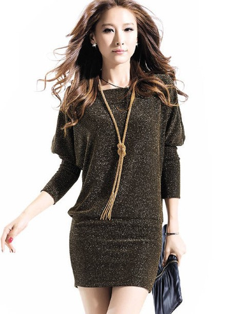 Nice Loose Round Neckline Spun Bat Sleeves Tight Cuff Sweater