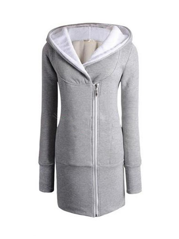 New Style Special Design Tilted Zipper Warm Hoodie