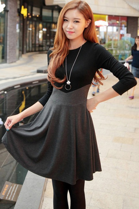 Long Sleeve Patchwork Pleated Women's Skater Dress