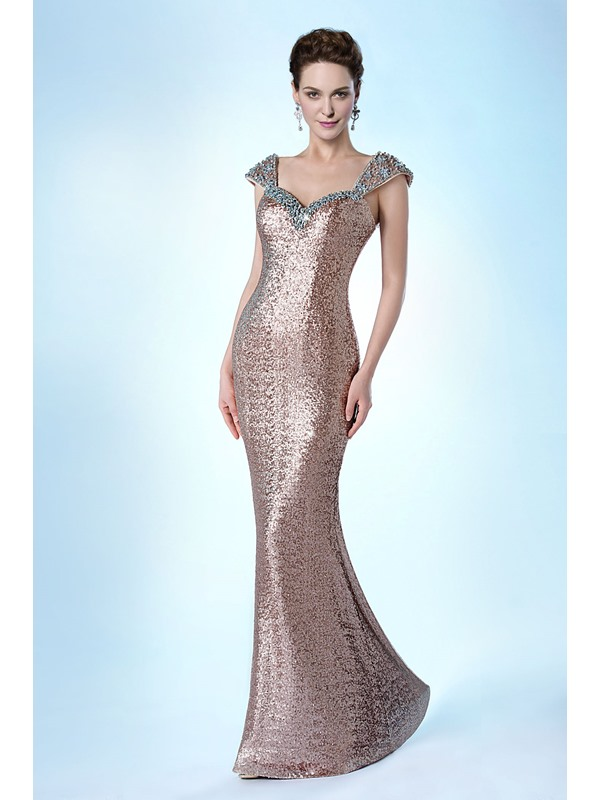 Luxurious Sheath Sweetheart Straps Sequins&Beading Floor-Length Evening Dress