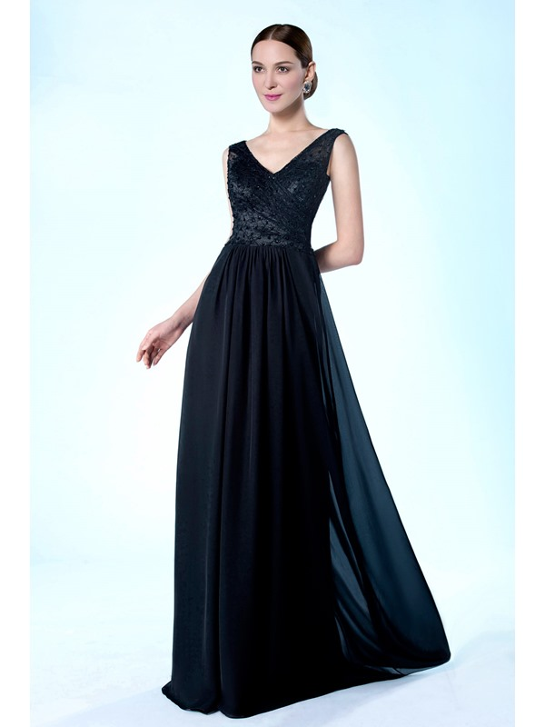 High Quality V-Neckline Beading Floor Length A-Line Mother of the Bride Dress