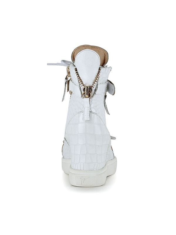 Popular White Cattle Hide Zip Women's Sneakers