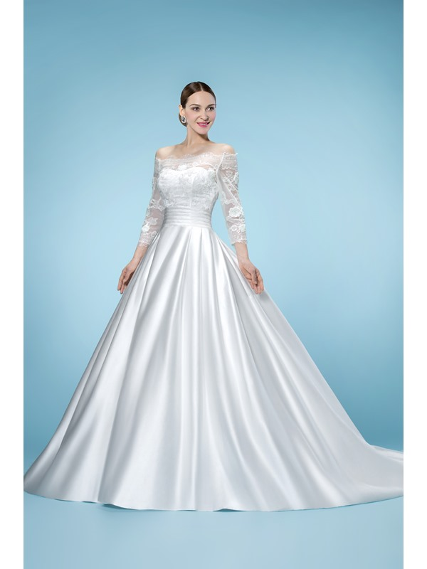 Junoesque Off-the-Shoulder 3/4 Length Sleeves Floor-Length Wedding Dress
