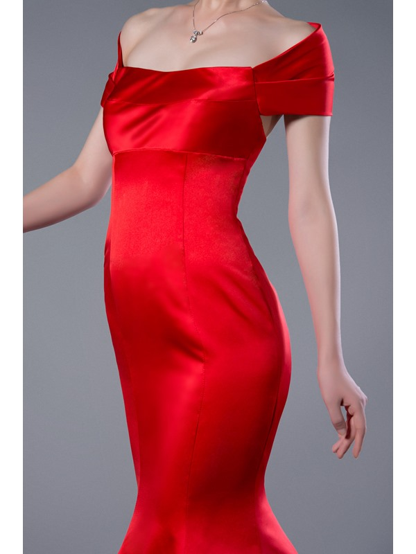 Simple Red Mermaid Off the Shoulder Long Evening Dress