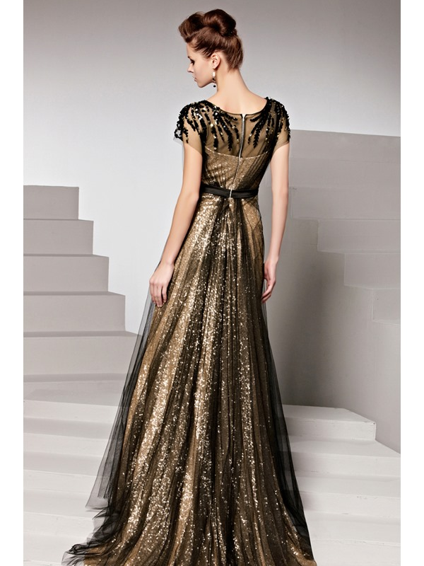 Charming Sequins Court Train Short Sleeves Floor-Length Evening Dress(Free Shipping)