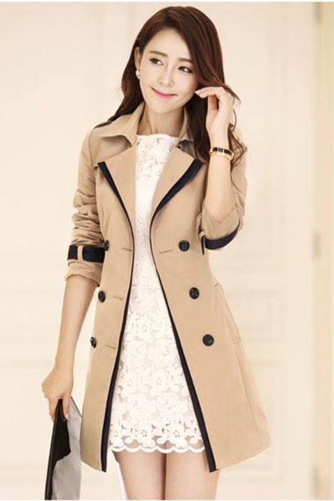 Cotton Winter Slim Button Style New Trench Coat