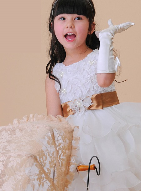 Artistic Yarn Bubble Skirt Sleeveless Flower Girl Dress