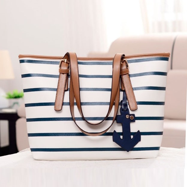 Splendid Preppy Striped Navy Style Casual Handy Women's Tote Bag