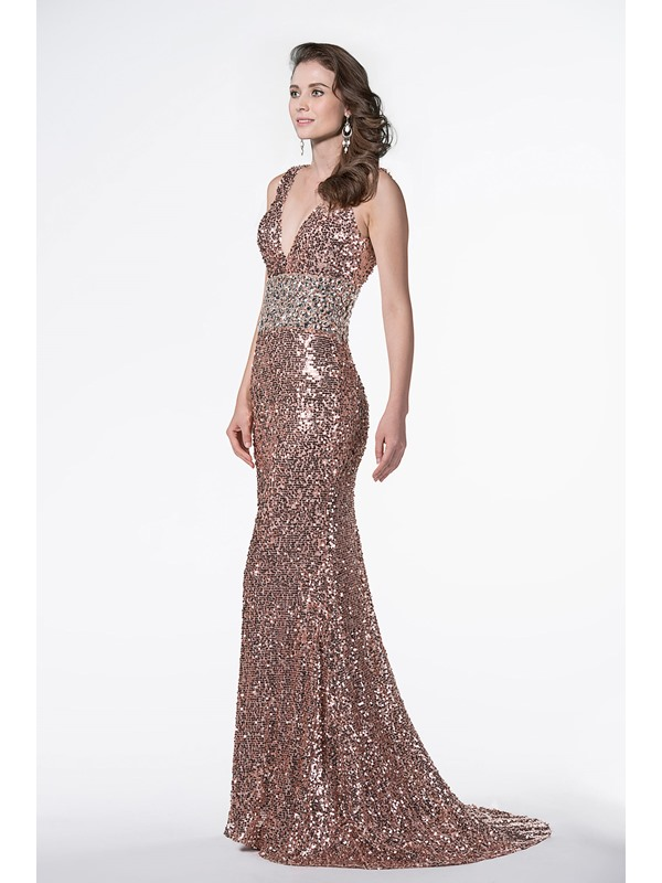 Shinning V-Neck Mermaid Beading Sequins Backless Sweep Train Long Evening Dress