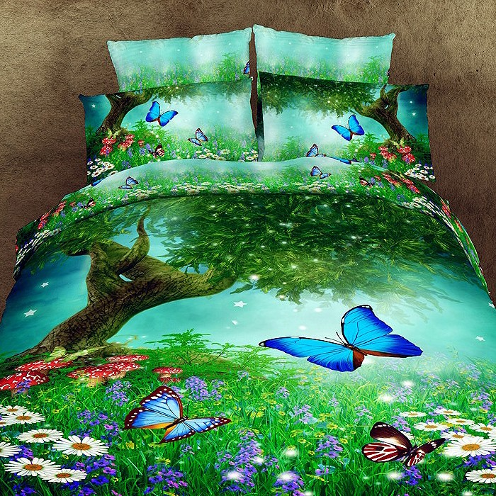 Smart Butterfly Floral Print 4Piece Cotton Bedding Sets(Free Shipping)