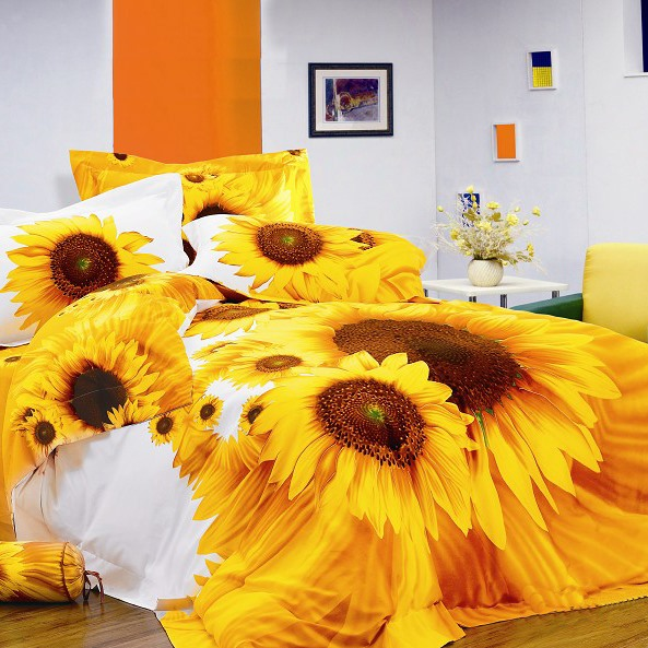 Colorful Live Flower 4Piece Cotton Duvet Cover Set