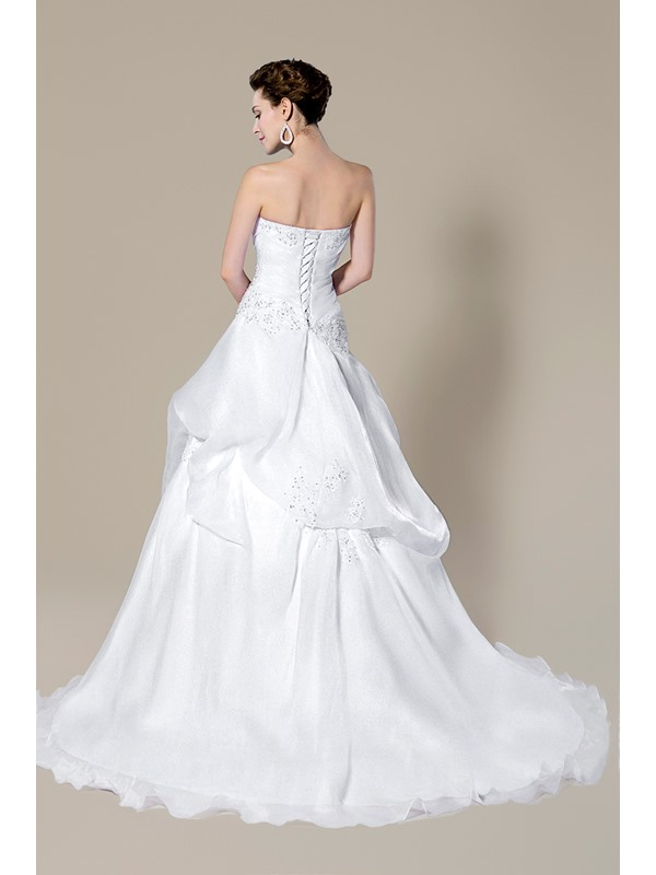 Strapless Beading Lace-Up Court Train A-Line Floor-Length Wedding Dress