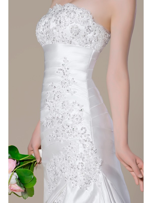 Charming Strapless Beading Applique Lace-Up Court Train Trumpet Wedding Dress(Free Shipping)