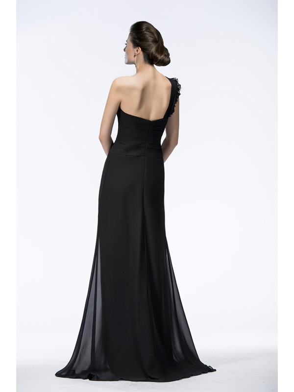 A-Line Lace One-Shoulder Long Evening Dress