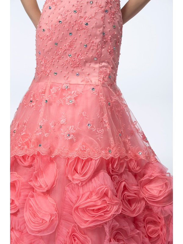Popularable Trumpet/Mermaid Sleeveless Beading Pearls Sweetheart Court Train Evening Dress