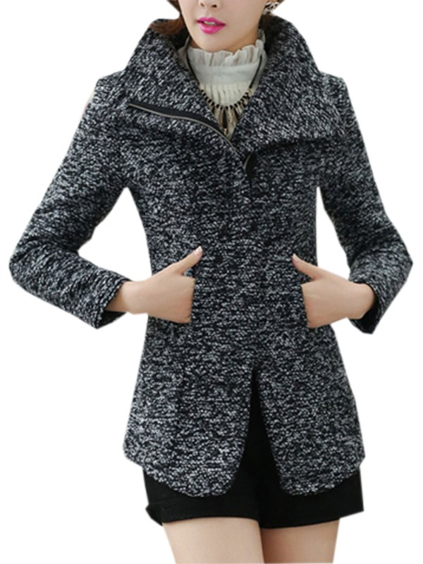 Comfortable Korean Style Slim Woolen Lapel Overcoat