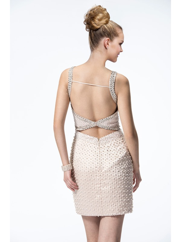 Bright Backless Column Straps Short-Length Pearls Formal/Cocktail Dress