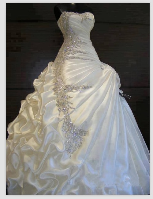 Exquisite Beaded Sweetheart Crystal Ball Gown Pick-ups Wedding Dress(Free Shipping)