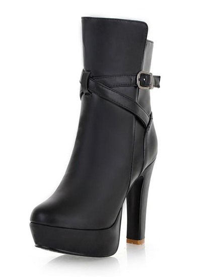 Soft Sexy New Round Toe Chunky Heels Boots