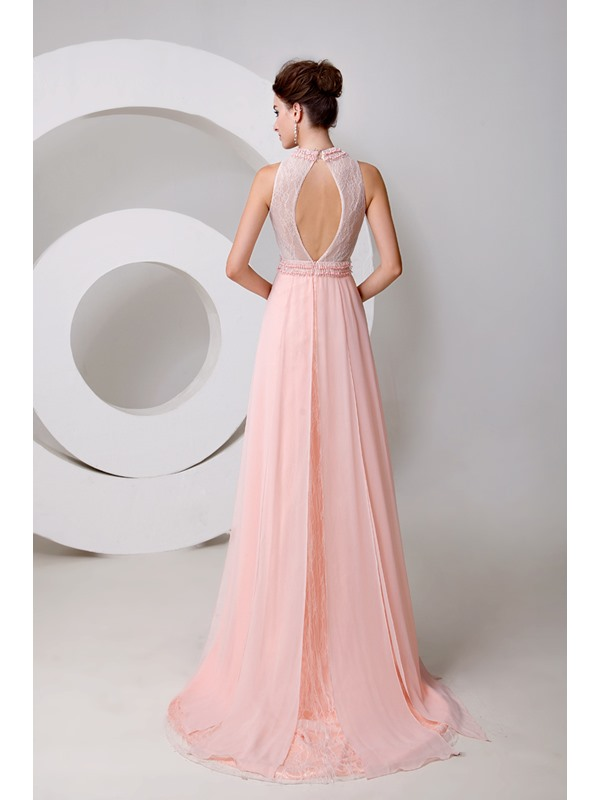 Graceful Jewel Neck Pearls Beading A-Line Court Train Long Evening Dress(Free Shipping)