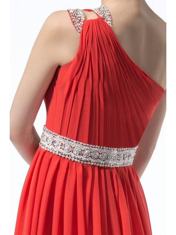 Enchanting A-Line One Shoulder Zipper-up Sequins Beading Bridesmaid Dress