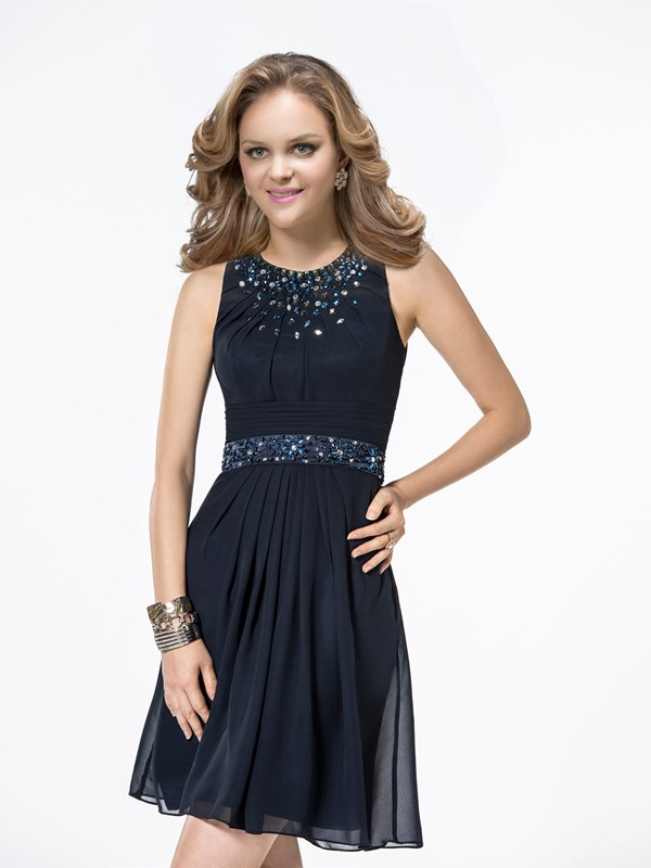 Admirable A-Line Scoop Neckline Beading Zipper-Up Knee-Length Cocktail Dress