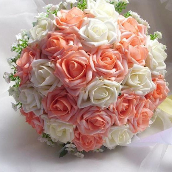Sphere Shaped Rose with white Flower Wedding Bridal Bouquet