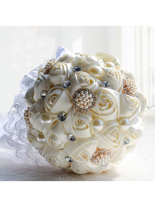 White Rose with Pearl and Rhinestone Wedding Bridal Bouquet