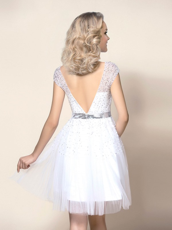 Delicate Beaded Bateau Neck Short Sleeve Short Wedding Dress
