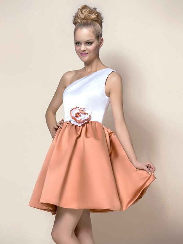 Simple Style Flower One-Shoulder Short/Mini A-Line Homecoming Dress