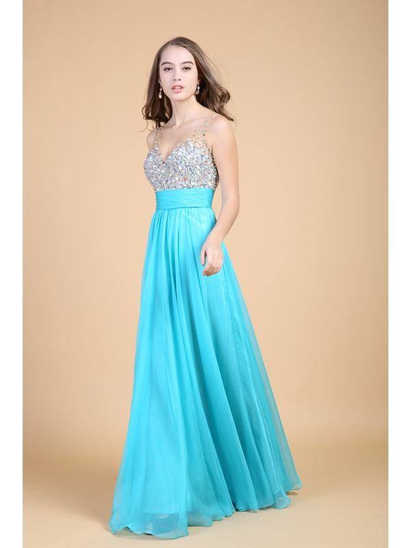 Noble A-Line V-Neck Empire Waist Beading Long Prom Dress