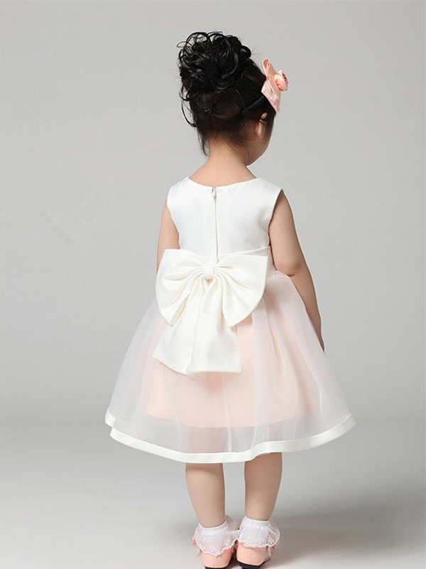 Cute Strapsless Tea-length Boeknot Sashes Flower Girl Dress