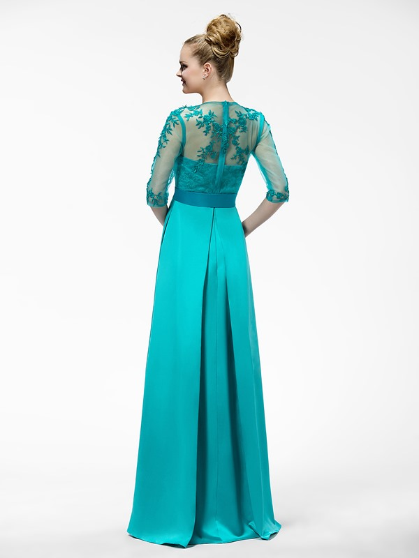 Floor Length A-Line Appliques Jewel-Neck Half-Sleeve Mother of the Bride Dress (Free Shipping)
