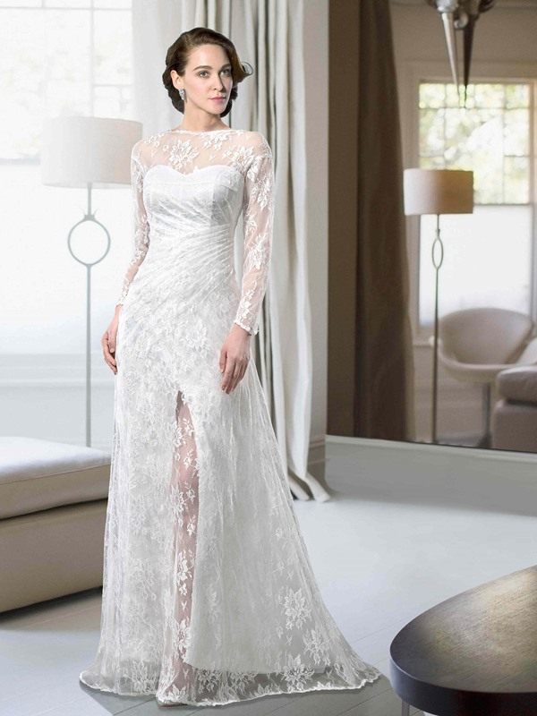 Lace Long Sleeves Bateau Split-Front Bateau Neckline Wedding Dress