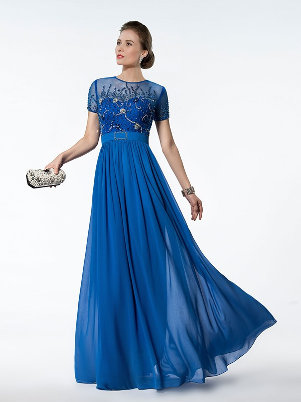 Graceful Beaded Jewel Neck Short Sleeve A-Line Floor Length Mother of the Bride Dress