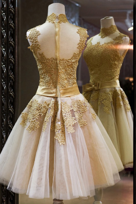 Vintage High Neck Bowknot Lace A-Line Homecoming Dress