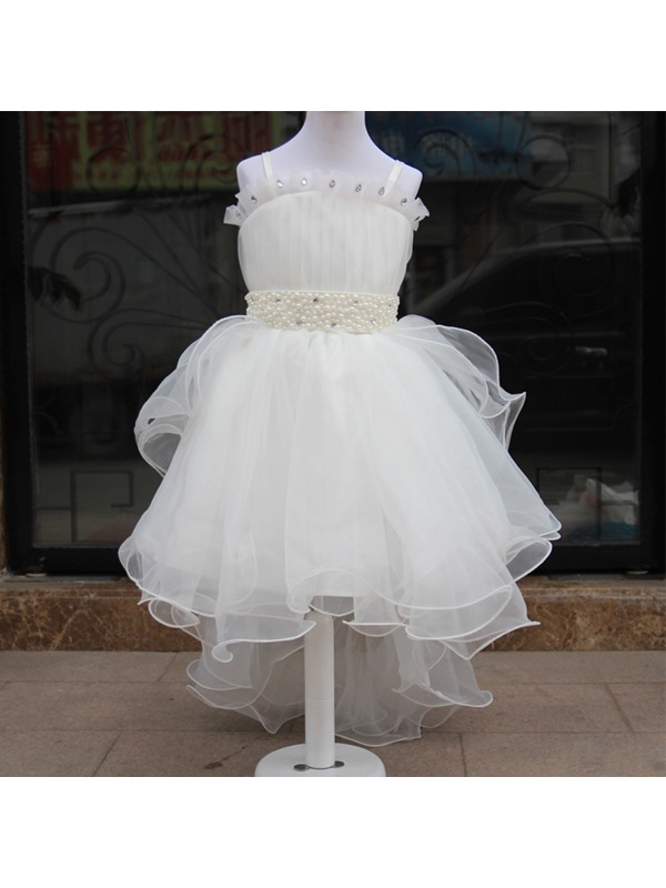 Cute Spaghetti Straps Pearl Sashes Asymmetry Flower Girl dress