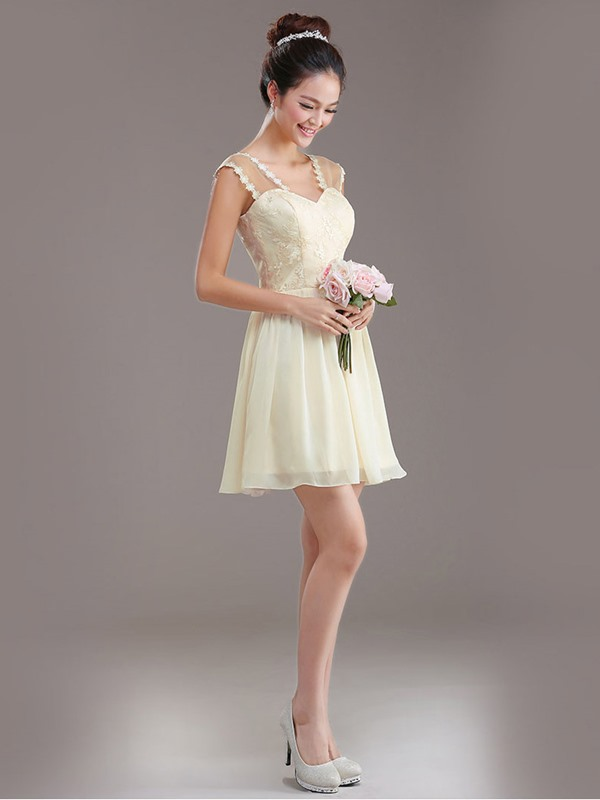 Simple A-Line Halter Short/Mini Lace Up Appliques Bridesmaid dress