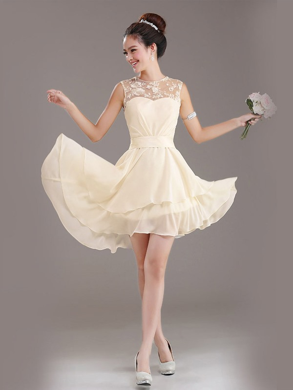 A-Line Lace Jewel Neck Lace Up Asymmetry Bridesmaid Dress(Free Shipping)