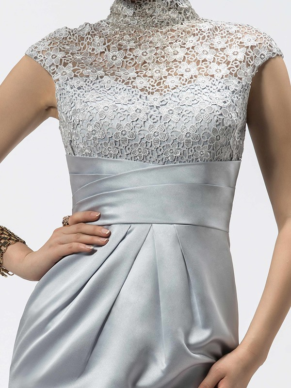 Elegant Sheath High-Neck Zipper-up Lace Cap Sleeves Formal Dress