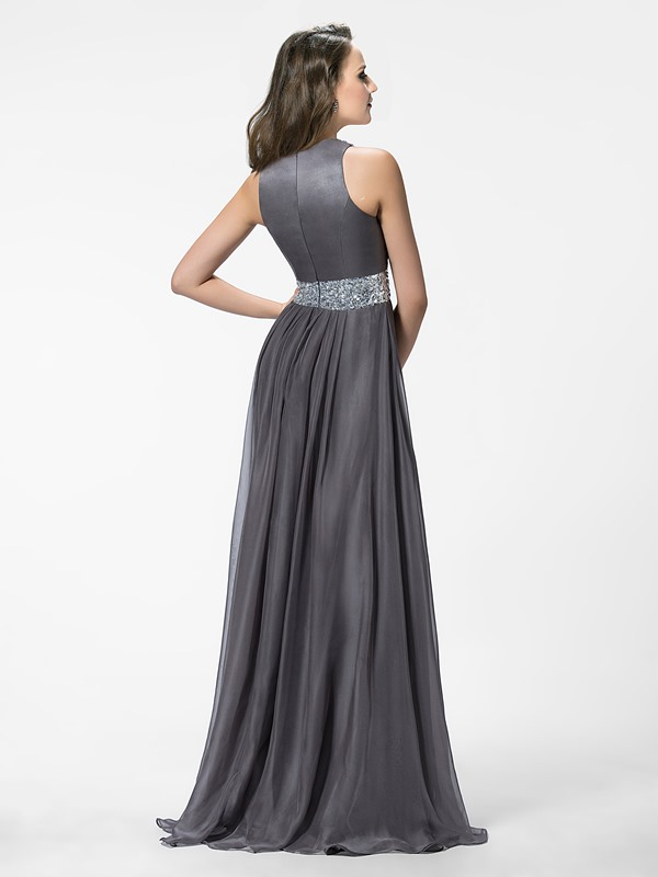 A-Line Jewel Beading Split-Front Long Evening Dress(Free Shipping)