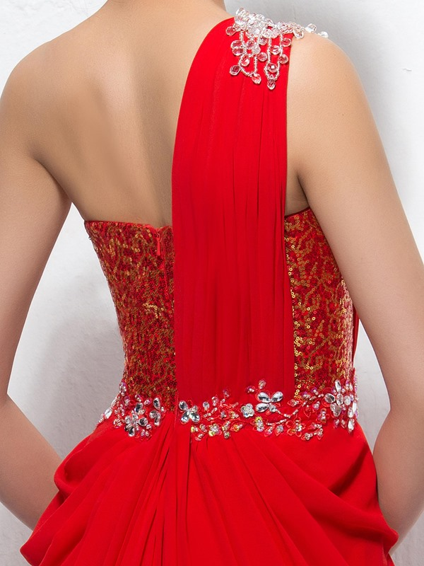 Sumptuous One-Shoulder Sequins Beading Floor-Length Evening Dress